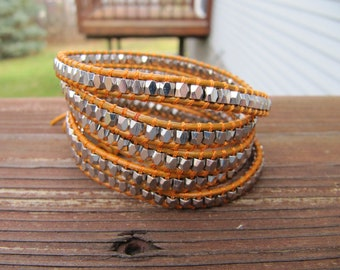 Saddle Orange and Silver Nugget 5 X Beaded Leather Wrap Bracelet - ON SALE
