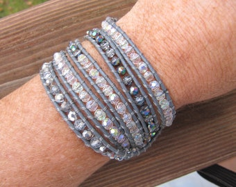 Silver Crystal AB Beaded 5 x Wrap Bracelet with Grey Leather