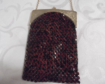 Whiting & Davis; Black/Red Mesh Flapper Evening Bag circa 1970 #DR