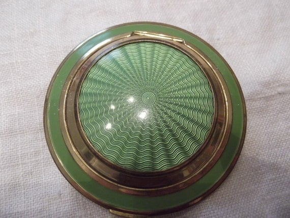 RESERVED for Lisa-  Coro Compact:- Green enamel saucer shaped compact- circa 1950   DR56