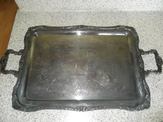 Clearance Sale-  Wm Rogers Large Heavy Silverplate Handled Tray 292 Eagle & Star-FREE GIFT included- circa 1960