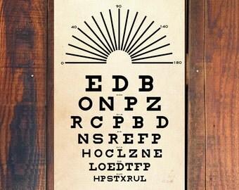 Eye Chart, Poster Print, Snellen Eye Chart Poster, Vintage Art Poster, Optometry, Gift for Him, Gift for Her, Christmas Gift