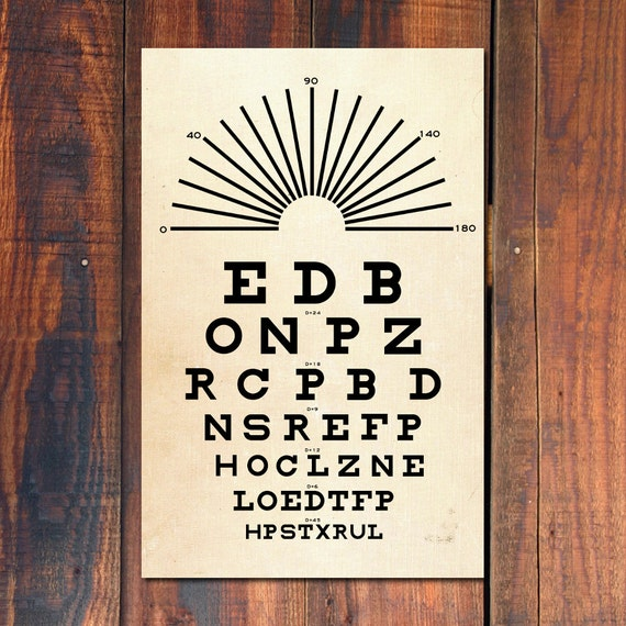 Eye Chart Print  Typography Poster  Vintage Art Poster  Gift  11 quot x17 quot Vintage Typography Poster