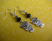 Small Silver Owls and Black Czech Glass Bead Earrings
