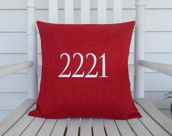 House Number Outdoor Pillow Cover in Cherry Red | Address | Personalized | Housewarming | Wedding | Date | Established | Gift