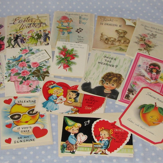 Lot of 15 Vintage Greeting Cards Get Well Assortment