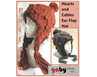 Hearts and Cables Ear Flap Hat Pattern