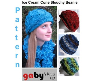 Pattern for Ice Cream Cone Slouchy Knit Beanie