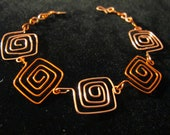 Bracelet wire wrapped squares in rust orange and peach with adjustable chain, abstract, geometric, christmas gift