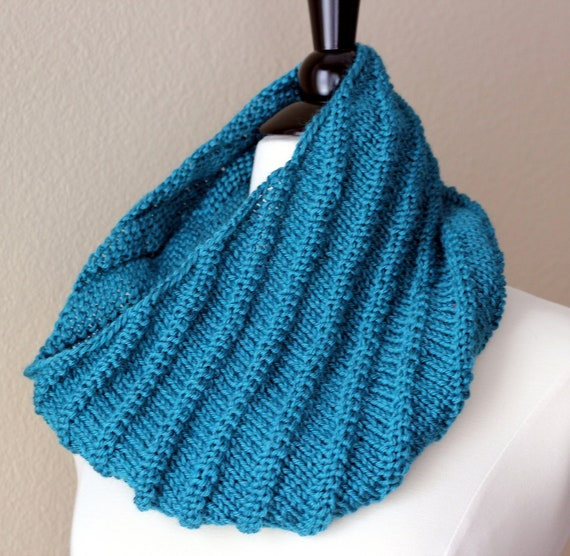 Teal Cowl Scarf with Diagonal Reversible Rib Ready by lilyogini