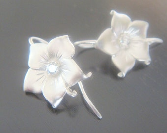 Wholesale Sterling Crystal Flower Earring Post Findings, setting, connector, pendants, 2 pc,  BH510195