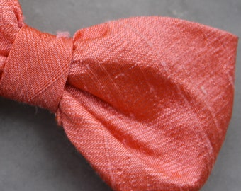 Bow Tie in Coral Silk - self tying, pre-tied adjustable or clip on for men or boys - ring bearer outfit, wedding ties