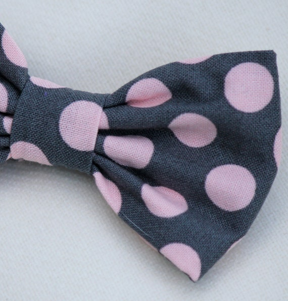 Bow Tie in pink and gray polka dot - clip on, pre-tied with strap or self tying