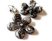 Dark earrings, Black and grey FLOWER artisan earrings - polymer clay, black grey silver gold white - grey flower earrings-  swarovski strass