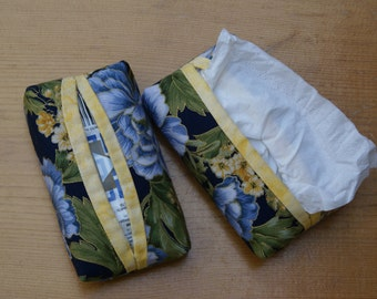 Handmade blue and yellorw fabric tissue holder for a travel size pack of tissues