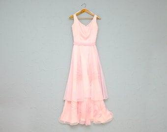 50% OFF - 70s dress: cotton candy pink, prom or formal, sheer, long, XS  / Vestido largo formal rosa de los setentas