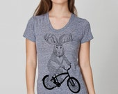 womens jackalope on a bike- American Apparel heather gray- available in S,M, L, XL- Worldwide Shipping