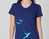 Womens flying bird swing scoop neck t shirt - american apparel indigo- available in S, M, L , XL WorldWide Shipping