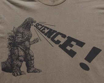 mens Godzilla Science t shirt- American Apparel army green- available in S, M, L, XL, XXL- WorldWide Shipping