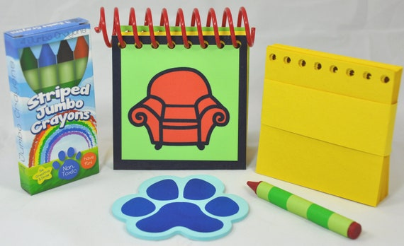 Erasable Blue's Clues Handy Dandy Notebook with Box 4 Jumbo Crayons and sticky Paw shaped clues