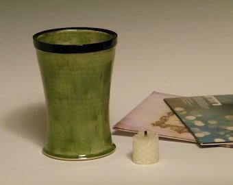 Green Vase Wheelthrown Small Glossy Ceramic Pottery