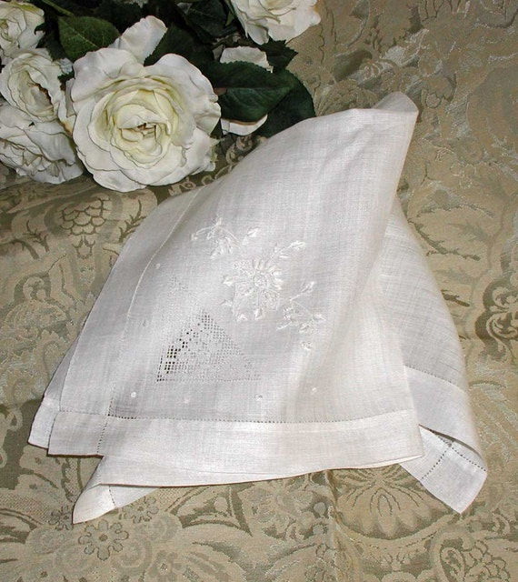 Embroidered Rice Linen Napkin With Drawnwork and Hemstitching