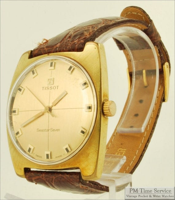 "Tissot vintage ""Seastar Seven"" wrist watch, 17 Jewels, beautiful yellow gold filled & stainless steel water resistant case"