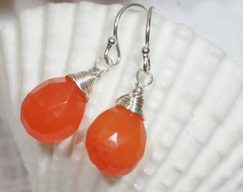 Carnelian Drop Earrings Dangle Earrings Gemstone Earrings