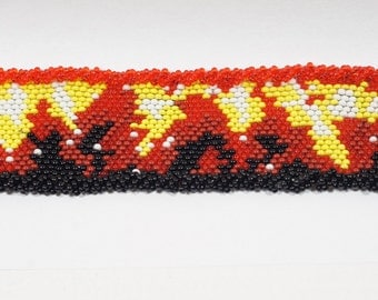 beadwork bracelet -Bracelet fire designer Beadweaving Bracelet Peyote Stitch Seed Beads Jewelry