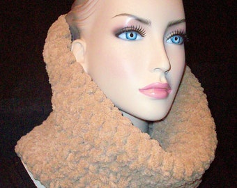 Tan Crochet Infinity Scarf, Chunky Infinity Scarf, Cowlneck Oatmeal Chenille Luxurious  Cowlneck, Crochet Scarf,Infinity Cowl Neck Warmer