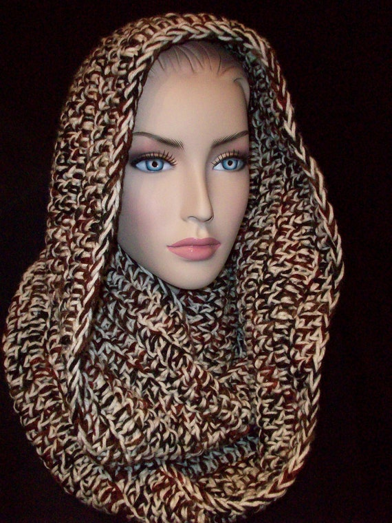 Chunky Infinity Scarf Multi Browns Black and Beige made with 2 strangs of yarn Unisex