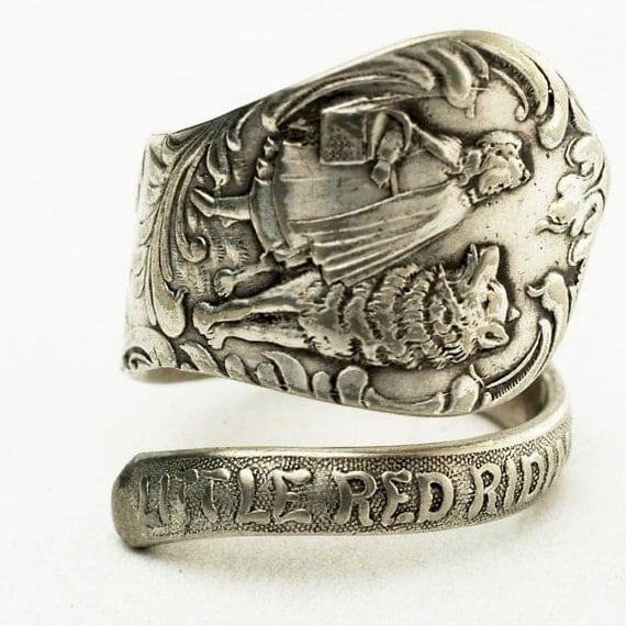 RESERVED FOR Zodwollop Original Little Red Riding Hood Spoon Ring, Handcrafted in your size (2960)