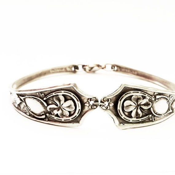 Good Luck Shamrock Four Leaf Clover Sterling Silver Bracelet, Sizable (BR05)