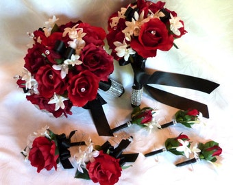 Red rose bouquet red white black wedding bouquet and boutonniere package