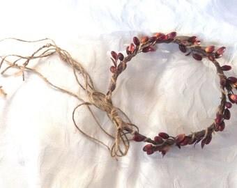 Wedding hair accessories berry flower girl halo bridal headpiece burgundy berry halo festival head wreath bridal halo