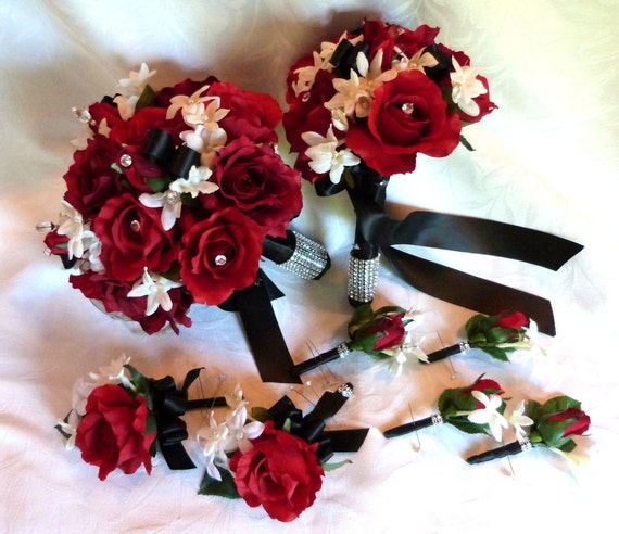 Red Rose Bouquet White Black Wedding And