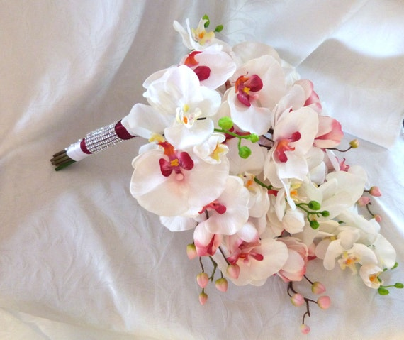 Orchid Flower Arrangements For Weddings: Cascade Orchid Bouquet Phalaenopsis Orchid Bouquet Tropical