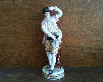 Vintage English pink dressed young man with grapes vines vineyard wine figurine statue ornament circa 1950-60's / English Shop
