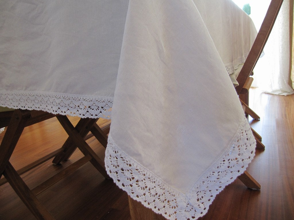 white ivory linen tablecloth cotton lace edge 104 120 144 84