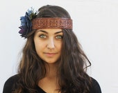 Hippie Headband - Blue Tooled Leather and Blue Peony Headpiece. Blue and Brown, Boho Chic, Fall Fashion , Upcycled