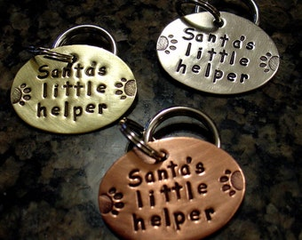 Holiday Tag- Santa's Little Helper-  pet collar charm