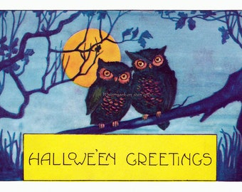 Halloween Owls Card - Full Moon Repro Greeting Card Whitney Number 1