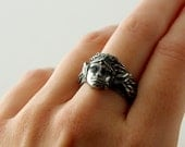 Elven Princess Silver Ring, Size 8 1/2, Elvish Ring, Silver Goddess Collection, Bohemian Art Nouveau Inspired, Gypsy Silver Ring