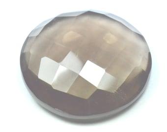 25mm round Smokey Quartz checker cut  faceted gemstone 25 by 7mm 34.4ct