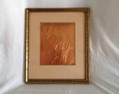 Copper Greek Goddoss GOLD Frame Vintage White matting on gold leafed ornate frame SEVENTIES