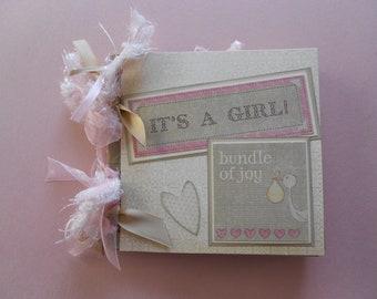 Baby girl gift  scrapbook album pre made moms brag book grandmas brag book baby girl gift