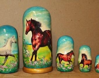 Horses Nesting dolls matryoshka babushka doll  set of 5 Sale