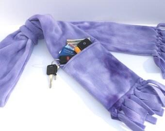 Zipper Pocket Fleece Scarf in Watercolor Purple WITH Fringe