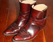 Red Leather Western Ankle Boots 7.5