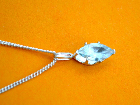 Aqua Marine & SILVER Pendant With Matching Necklace, Clearance Sale